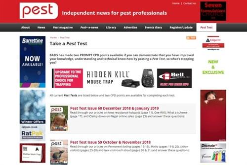 Pest test index page